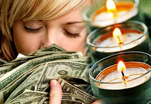 девушка, доллары, свечи
