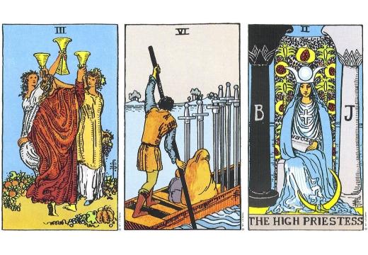 тройка кубков мечи верховная жрица