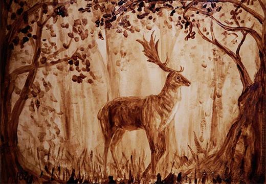 кофейная живопись олень