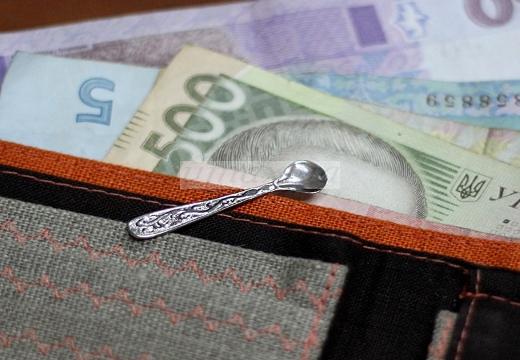 Ложка в кошельке с валютой