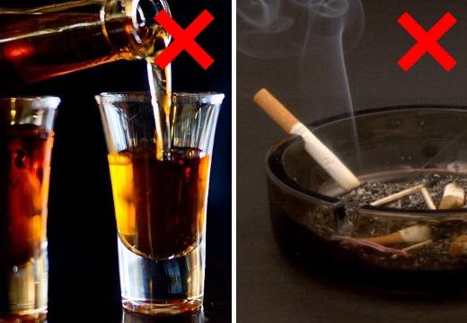 нельзя алкоголь сигареты
