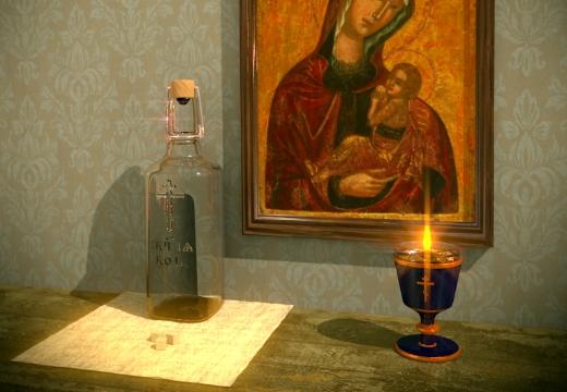 икона и святая вода и свеча