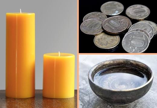 свечи монеты вода