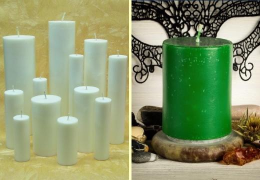 белые и зеленая свечи