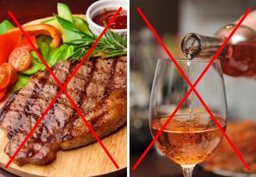нельзя мясо и алкоголь